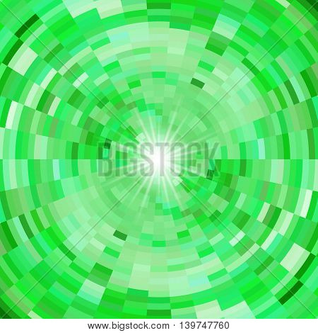 Abstract mosaic background in green colors and flash of light in centre