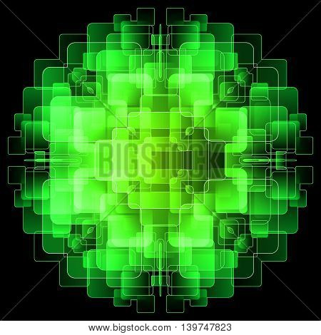 Abstract background with green digital screens overlapping. Illustration on black background