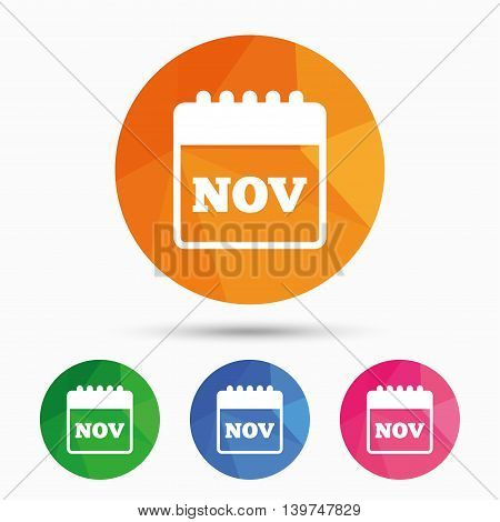 Calendar sign icon. November month symbol. Triangular low poly button with flat icon. Vector