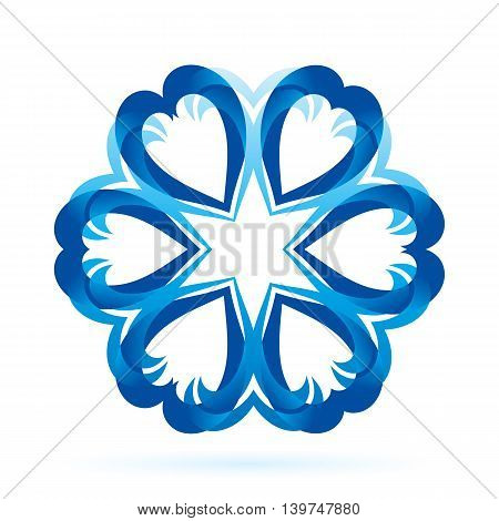 Abstract blue form in blue shades on white background. Flower or snowflake pattern