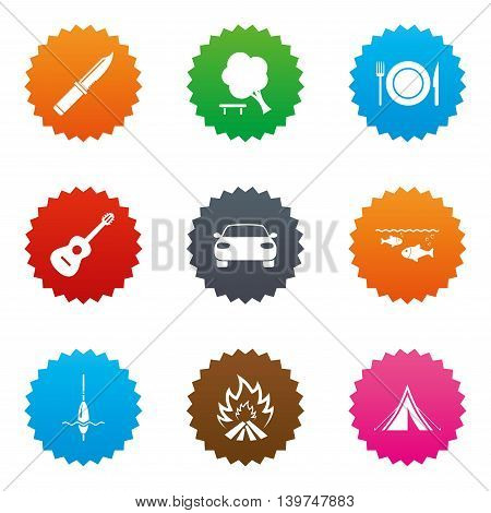 Hike trip, camping icons. Fishing, campfire and tourist tent signs. Guitar music, knife and food symbols. Stars label button with flat icons. Vector
