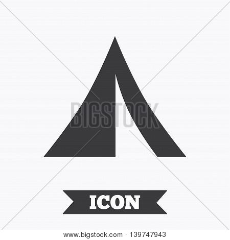 Tourist tent sign icon. Camping symbol. Graphic design element. Flat camping symbol on white background. Vector