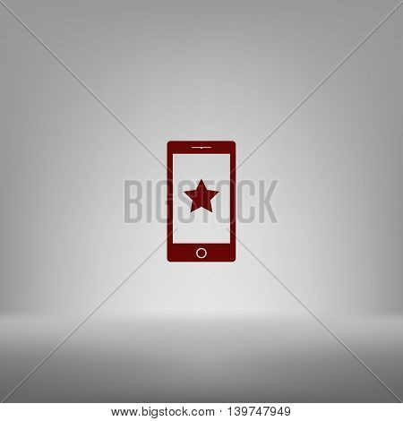 Flat Paper Cut Style Icon Of Mobile Phone