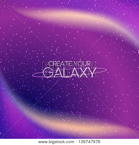 Abstract cosmic galaxy background with milky way, stardust, nebula and bright shining stars. Vector illustration of deep night sky. Cosmic vector illustration for your design, artworks.