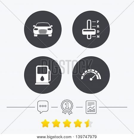 Transport icons. Car tachometer and automatic transmission symbols. Petrol or Gas station sign. Chat, award medal and report linear icons. Star vote ranking. Vector