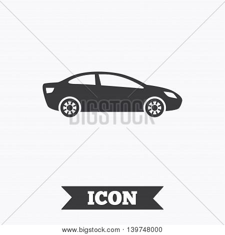 Car sign icon. Sedan saloon symbol. Transport. Graphic design element. Flat car symbol on white background. Vector