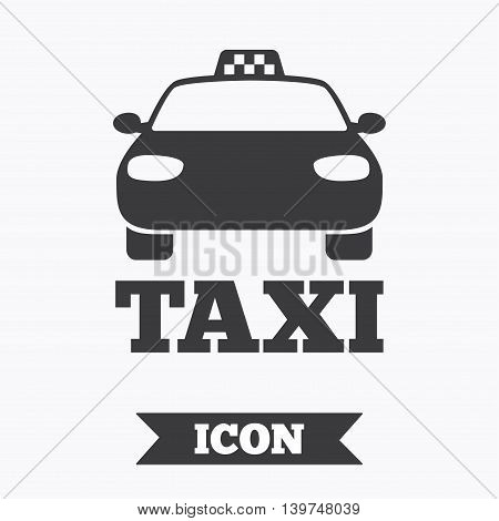 Taxi car sign icon. Public transport symbol. Graphic design element. Flat taxi symbol on white background. Vector