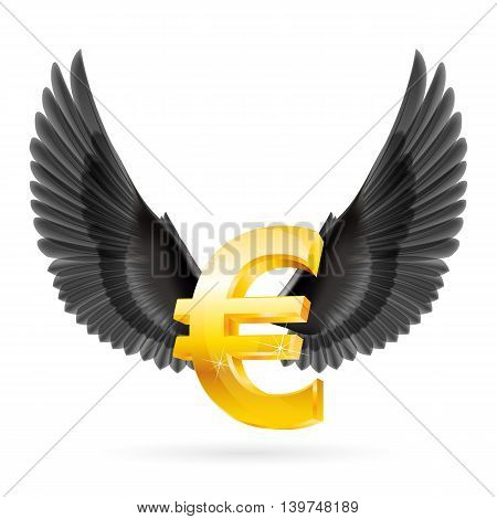 Shiny golden euro symbol with black wings