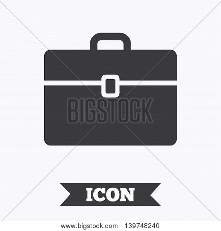 Case sign icon. Briefcase button. Graphic design element. Flat case symbol on white background. Vector