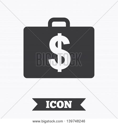 Case with Dollars USD sign icon. Briefcase button. Graphic design element. Flat diplomat symbol on white background. Vector