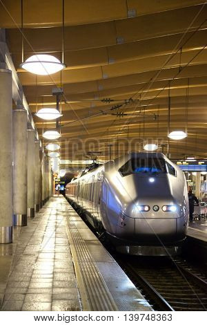 Bullet modern train at metro station platform in Oslo Norway