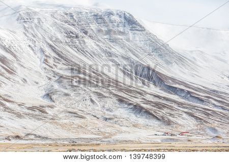 Iceland Winter landscape snow mountain
