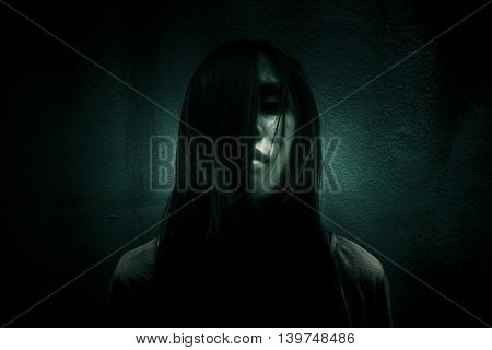 In middle of the light,Ghost women in the dark,Scary background for book cover