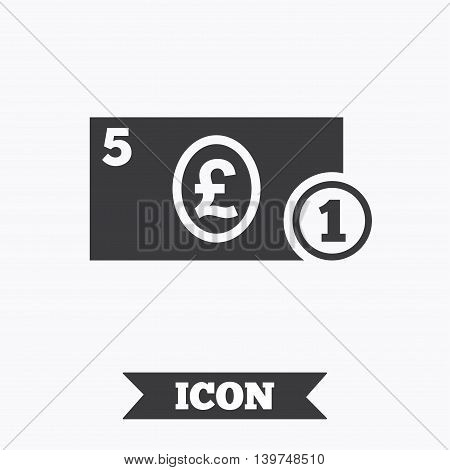 Cash sign icon. Pound Money symbol. GBP Coin and paper money. Graphic design element. Flat cash symbol on white background. Vector