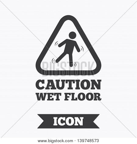 Caution wet floor sign icon. Human falling triangle symbol. Graphic design element. Flat slippery floor symbol on white background. Vector