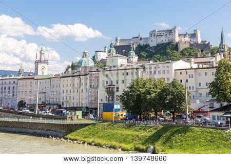 Salzburg cityscape downtown in Austria
