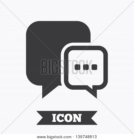 Chat sign icon. Speech bubble with three dots symbol. Communication chat bubble. Graphic design element. Flat message symbol on white background. Vector