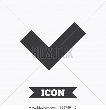 Check sign icon. Yes button. Graphic design element. Flat check symbol on white background. Vector