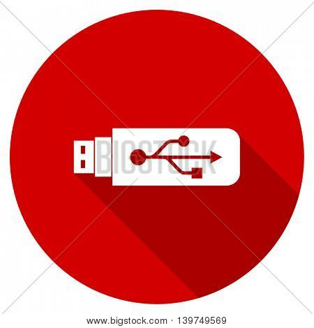 usb red vector icon, circle flat design internet button, web and mobile app illustration