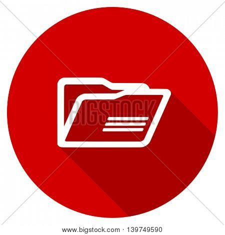 folder red vector icon, circle flat design internet button, web and mobile app illustration