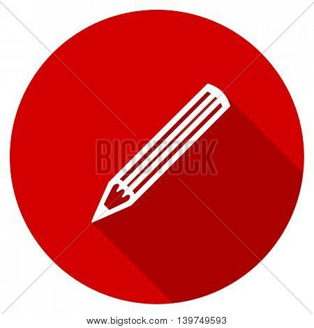 pencil red vector icon, circle flat design internet button, web and mobile app illustration