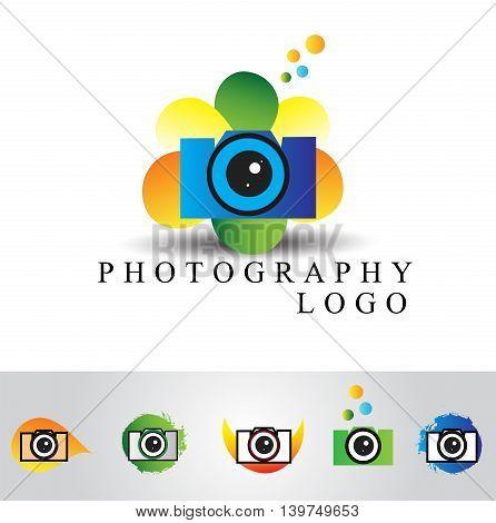 Colorful camera logo design,photography icon isolated on white background