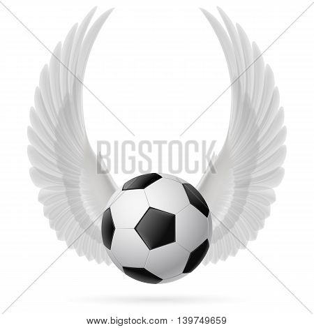 Realistic soccer ball emblem with raised up white wings