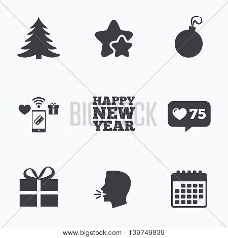 Happy new year icon. Christmas tree and gift box sign symbols. Flat talking head, calendar icons. Stars, like counter icons. Vector