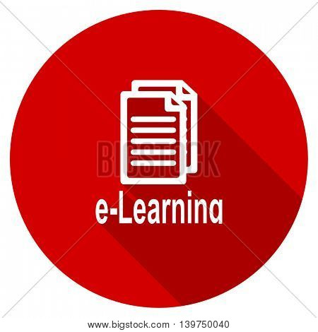learning red vector icon, circle flat design internet button, web and mobile app illustration