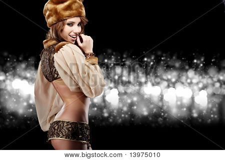 Beautiful Russian girl in New Year concept.