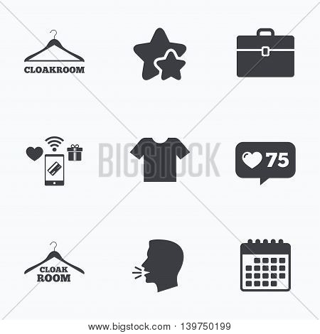 Cloakroom icons. Hanger wardrobe signs. T-shirt clothes and baggage symbols. Flat talking head, calendar icons. Stars, like counter icons. Vector