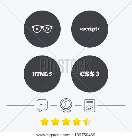 Programmer coder glasses icon. HTML5 markup language and CSS3 cascading style sheets sign symbols. Chat, award medal and report linear icons. Star vote ranking. Vector