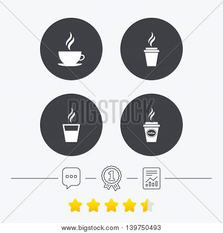 Coffee cup icon. Hot drinks glasses symbols. Take away or take-out tea beverage signs. Chat, award medal and report linear icons. Star vote ranking. Vector