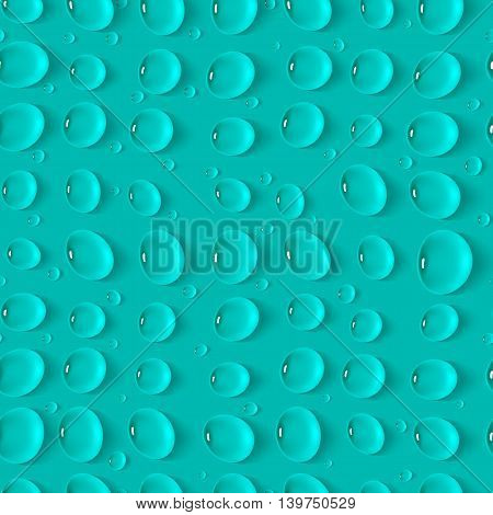 Seamless realistic pattern with drops on aquamarine background. Template for design backgrounds, package, covers. Vector illustration.