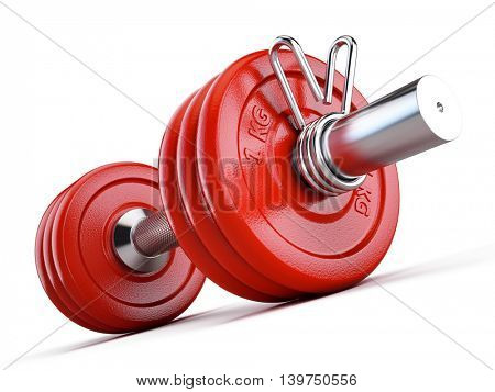 Red dumbbell isolated on white background - 3d illustration