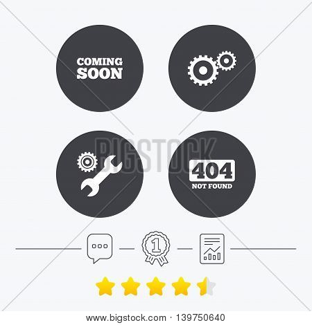 Coming soon icon. Repair service tool and gear symbols. Wrench sign. 404 Not found. Chat, award medal and report linear icons. Star vote ranking. Vector