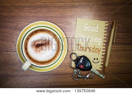Inspirational quote - Good Morning Thursday on notepad retro style background.