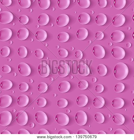 Seamless realistic pattern with drops on pink background. Template for design backgrounds, package, covers. Vector illustration.