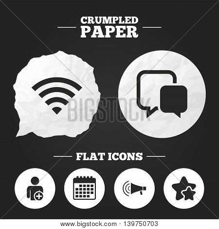Crumpled paper speech bubble. Wifi and chat bubbles icons. Add user and megaphone loudspeaker symbols. Communication signs. Paper button. Vector
