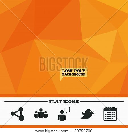 Triangular low poly orange background. Group of people and share icons. Speech bubble symbols. Communication signs. Calendar flat icon. Vector