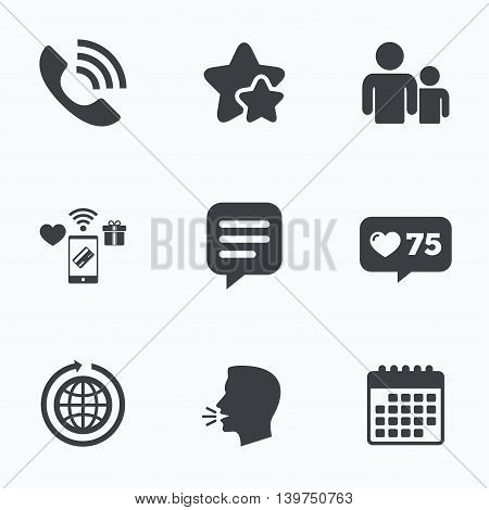 Group of people and share icons. Speech bubble and round the world arrow symbols. Communication signs. Flat talking head, calendar icons. Stars, like counter icons. Vector
