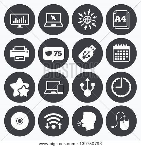 Calendar, wifi and clock symbols. Like counter, stars symbols. Computer devices icons. Printer, laptop signs. Smartphone, monitor and usb symbols. Talking head, go to web symbols. Vector