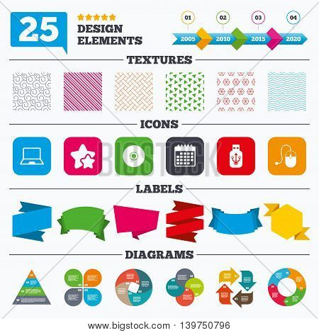 Offer sale tags, textures and charts. Notebook pc and Usb flash drive stick icons. Computer mouse and CD or DVD sign symbols. Sale price tags. Vector