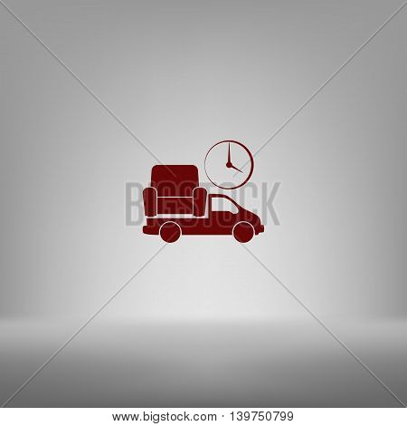Flat Paper Cut Style Icon Of Vehicle Delivering Furniture