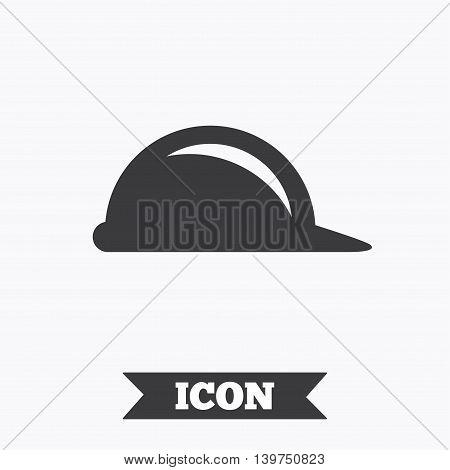 Hard hat sign icon. Construction helmet symbol. Graphic design element. Flat helmet symbol on white background. Vector