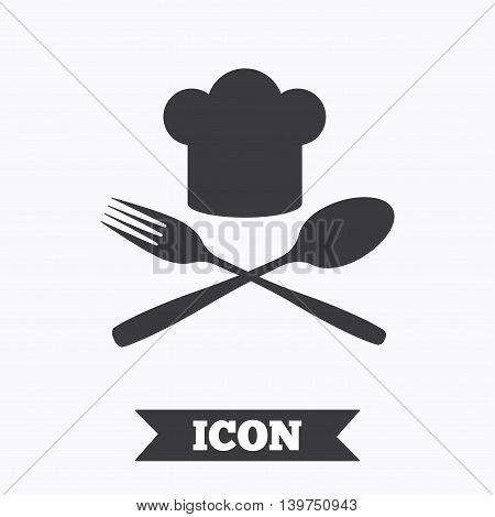 Chef hat sign icon. Cooking symbol. Cooks hat with fork and spoon. Graphic design element. Flat cook symbol on white background. Vector