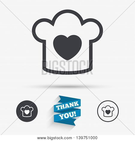 Chef hat sign icon. Cooking symbol. Cooks hat with heart love. Flat icons. Buttons with icons. Thank you ribbon. Vector