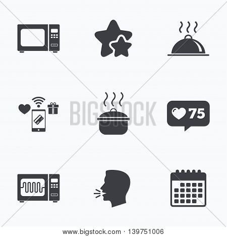 Microwave grill oven icons. Cooking pan signs. Food platter serving symbol. Flat talking head, calendar icons. Stars, like counter icons. Vector