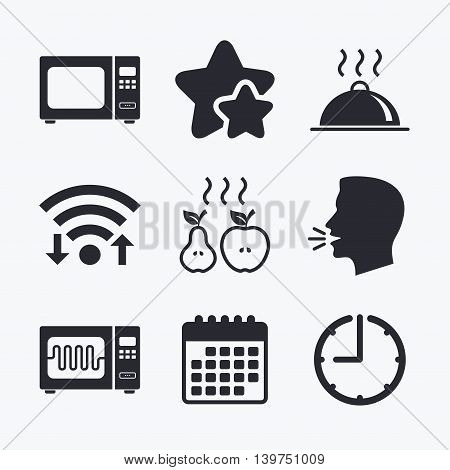 Microwave grill oven icons. Cooking apple and pear signs. Food platter serving symbol. Wifi internet, favorite stars, calendar and clock. Talking head. Vector
