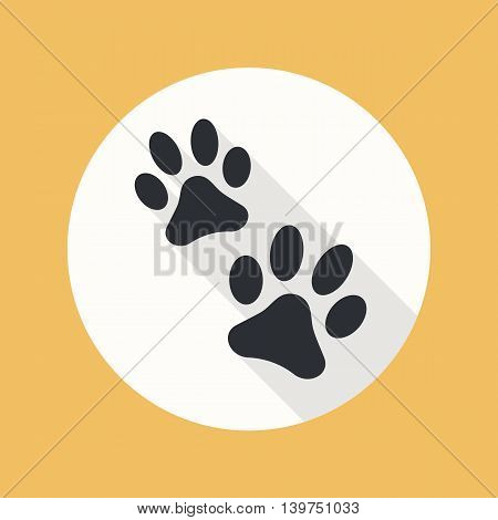 Paw flat icon with long shadow. Vector illustration